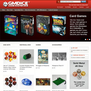 Game Master Dice, a dice store that sells dice sets and board games